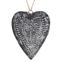Buy John Lewis Antique Metal Heart Decoration, Silver Online at johnlewis.com