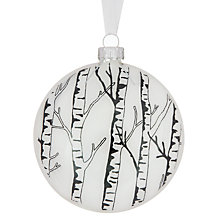Buy John Lewis Flat Glass Tree Bauble, Clear/White Online at johnlewis.com
