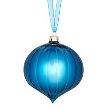 Buy John Lewis Shiny Ribbed Onion Bauble, Blue Online at johnlewis.com