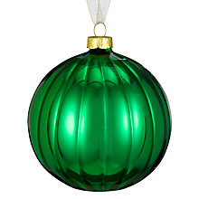 Buy John Lewis Shiny Ribbed Bauble, Green Online at johnlewis.com