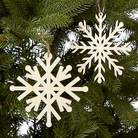 Buy John Lewis Wooden Laser Cut Snowflake, Assorted, Cream Online at johnlewis.com