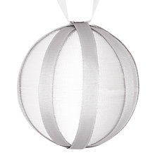 Buy John Lewis Croft Collection Wrapped Ribbon Bauble, White/Grey Online at johnlewis.com