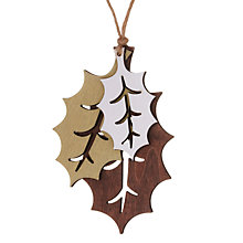 Buy John Lewis Wooden Holly Leaves Cluster, Natural Online at johnlewis.com