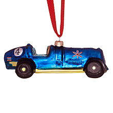 Buy John Lewis Glass Retro Racing Car Decoration, Blue Online at johnlewis.com