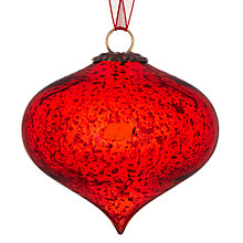 Buy John Lewis Mercurised Glass Onion Bauble, Red Online at johnlewis.com