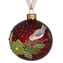 Buy John Lewis Robin on Holly Glass Bauble, Red/Multi Online at johnlewis.com