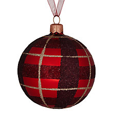 Buy John Lewis Glittery Checked Bauble, Red/Gold Online at johnlewis.com
