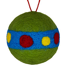 Buy John Lewis Felt Dot and Stripe Bauble, Multi Online at johnlewis.com