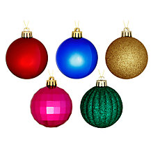 Buy John Lewis Shatterproof Baubles, Set of 20, Multi Online at johnlewis.com