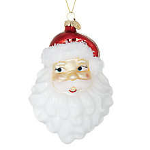 Buy John Lewis Glass Retro Father Christmas Head Decoration Online at johnlewis.com