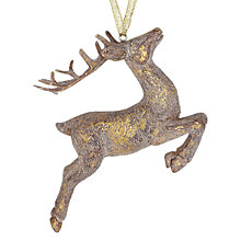 Buy John Lewis Leaping Reindeer Decoration, Gold Online at johnlewis.com