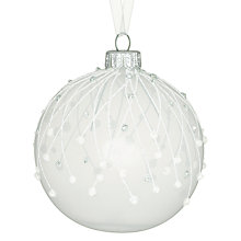 Buy John Lewis Croft Collection Opaque Dot Bauble, White Online at johnlewis.com