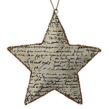 Buy John Lewis Glitter Antique Text Star Decoration, Gold Online at johnlewis.com