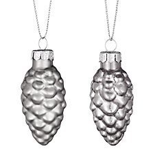 Buy John Lewis Glass Pine Cones, Mini, Set of 12, Silver Online at johnlewis.com