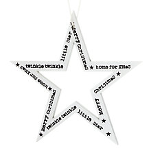 Buy John Lewis Twinkle Twinkle Wood Star, White / Black Online at johnlewis.com