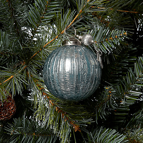 Buy John Lewis Crackle Bauble with Charm, Blue Online at johnlewis.com
