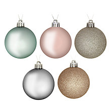 Buy John Lewis Croft Collection Shatterproof Baubles, Pack of 20, Multi Online at johnlewis.com