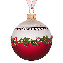 Buy John Lewis Cream Holly Bauble, Red/Cream Online at johnlewis.com