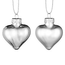 Buy John Lewis Croft Collection Glass Heart Baubles, Set of 12, Silver Online at johnlewis.com