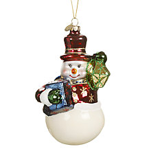 Buy John Lewis Glass Retro Snowman Decoration Online at johnlewis.com
