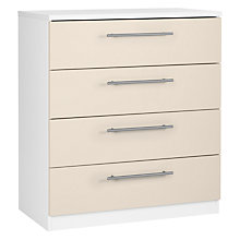 Buy House by John Lewis Mix it T-Bar Handle Wide 4 Drawer Chest, House Putty/Matt White Online at johnlewis.com