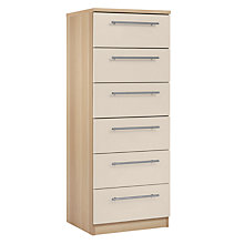 Buy House by John Lewis Mix it T-Bar Handle Narrow 6 Drawer Chest, House Putty/Natural Oak Online at johnlewis.com