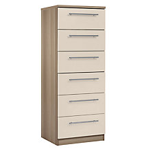 Buy House by John Lewis Mix it T-Bar Handle Narrow 6 Drawer Chest, House Putty/Grey Ash Online at johnlewis.com