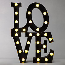 Buy John Lewis Love Lit Sign, Black Online at johnlewis.com