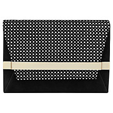 Buy Reiss Timo Perforated Leather Clutch Bag, Black Online at johnlewis.com