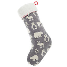 Buy John Lewis Woodland Animal Stocking, Grey/White Online at johnlewis.com