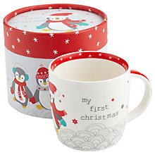 Buy John Lewis 'My First Christmas' Penguin Mug, Multi Online at johnlewis.com