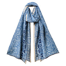 Buy East Floral Border Scarf, Ocean Online at johnlewis.com