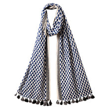 Buy East Leaf Pompom Scarf, Indigo Online at johnlewis.com