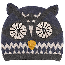 Buy John Lewis Owl Beanie Hat, Blue Online at johnlewis.com