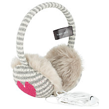 Buy John Lewis Stripe & Heart Tech Hearmuffs, Pink Online at johnlewis.com