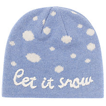 Buy John Lewis Let It Snow Beanie Hat, One Size, Pale Blue Online at johnlewis.com