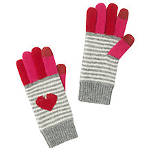 Buy John Lewis Stripe & Heart Tech Gloves, Pink Online at johnlewis.com