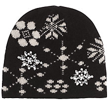 Buy John Lewis Jewelled Snowflake Beanie Hat, One Size, Black Online at johnlewis.com
