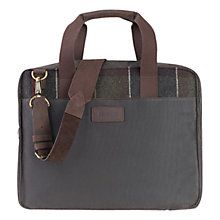 Buy Barbour Tartan Slim Laptop Bag, Olive Online at johnlewis.com