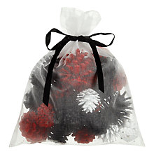 Buy John Lewis Copenhagen Christmas Pinecones, Black & Red Online at johnlewis.com