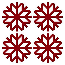 Buy John Lewis Snowflake Placemats, Set of 4, Red Online at johnlewis.com