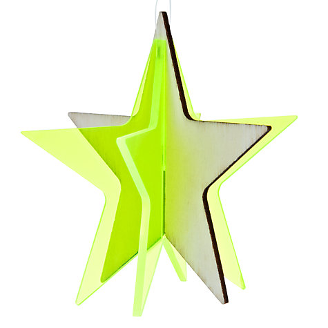 Buy House by John Lewis 3D Fluorescent Star Bauble, Yellow Online at johnlewis.com