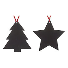Buy John Lewis Wooden Tree or Star Decoration, Assorted, Black Online at johnlewis.com