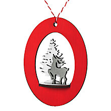 Buy John Lewis Wooden 3D Reindeer and Tree Decoration, Red/White Online at johnlewis.com