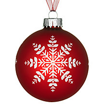 Buy John Lewis Snowflake Glass Bauble, Red/White Online at johnlewis.com