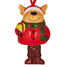 Buy John Lewis Ceramic Dog with Santa Hat Decoration, Multi Online at johnlewis.com