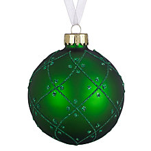 Buy John Lewis Bauble with Glitter Diamond, Green Online at johnlewis.com
