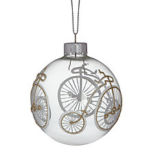 Buy John Lewis Glass Bauble with Glitter, Clear/Silver Online at johnlewis.com