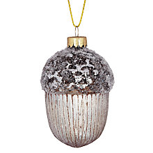 Buy John Lewis Mercurised Glass Acorn Decoration, Silver Online at johnlewis.com