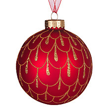 Buy John Lewis Glitter Droplets Bauble, Red/Gold Online at johnlewis.com
